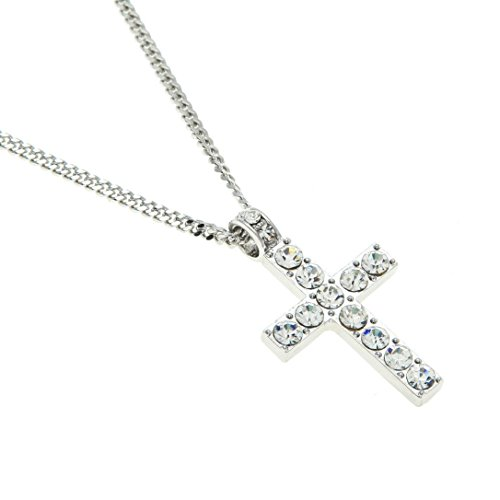 (Quaant Cross Necklace,Hip Hop Men Women Jewelry Bling Rhinestone Crystal Cross Pendant Necklace)