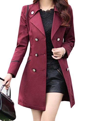 Coolred-Women Lapel Pockets Mid Length Double-Breasted Trench Coat Maroon S