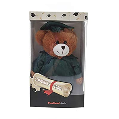 Plushland Brown Bear Plush Stuffed Animal Toys with Box Present Gifts for Graduation Day, Personalized Text, Name or Your School Logo on Gown, Best for Any Grad School Kids (Forest Green Cap and Gown): Toys & Games