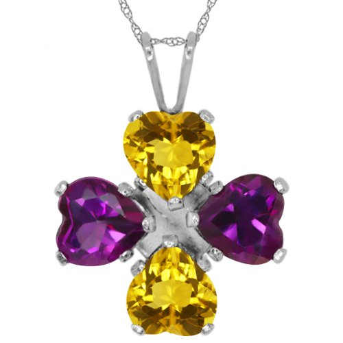 (Gem Stone King 2.92 Ct Heart Shape Yellow Citrine Purple Amethyst 925 Sterling Silver Pendant)