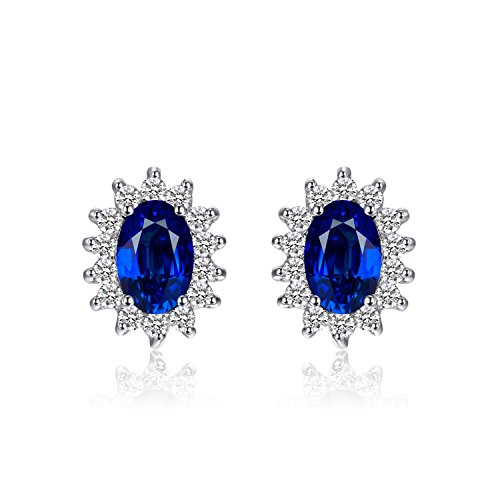 JewelryPalace Princess Diana William Kate Middleton's 1.5ct Created Blue Sapphire Stud Earrings 925 Sterling Silver Dark Blue Sapphire Ring