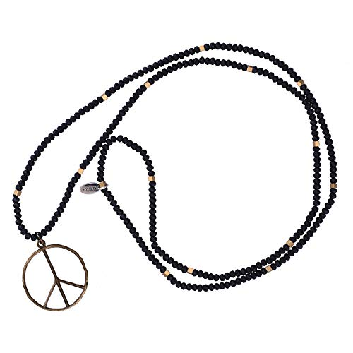 (KELITCH Classic Peace Sign Love Hippie Pendant on Frosted Crystal Beaded Necklace (Matte Black))