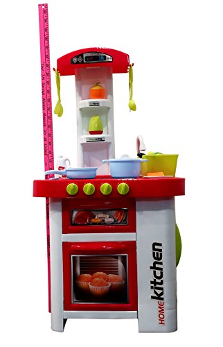 Pretend Children's Kitchen Playset~Deluxe Cooking Stove Top, Oven, Fridge, Sink w/ Running Water, Many Accessories, Battery Operated Sounds & Lights~Great Gift for Boys & Girls Age 3+