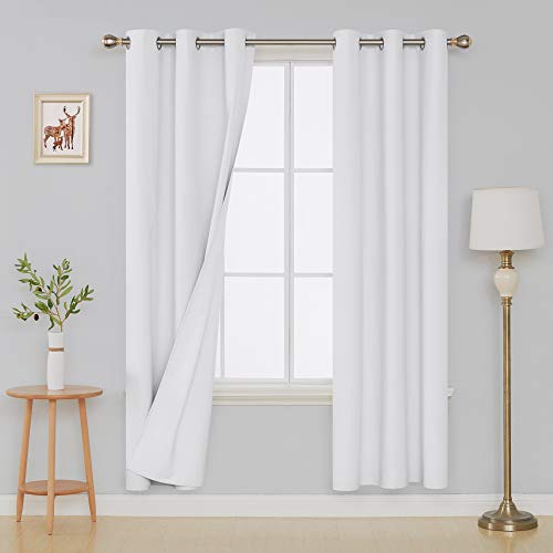 Deconovo Full Blackout Curtains Pair Heavy Thick Window Treatment Sets Covering with White Coating Layer for Sliding Glass Door 38W x 84L Inch Pure White 2 Panels ()
