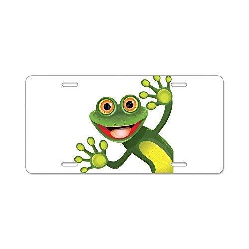 Davis Relev Happy Green Frog - Aluminum License Plate,Front License Plate 12 x 6 Inches (Happy Green Frog)