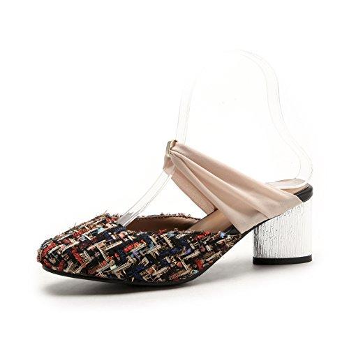 Sauvage avec Black Flop Sandales Baotou Flip la Mode de épais Chaussures Femmes Taille Grande wAafIq0