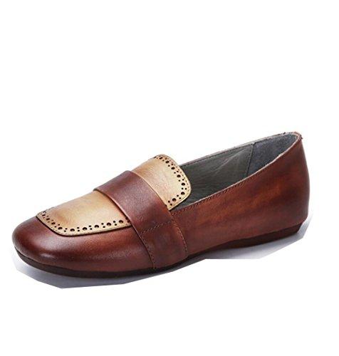 ZFNYY Casual Damas Retro Zapatos Comodidad Color Planos Zapatos de de Manera la CwqrACZO