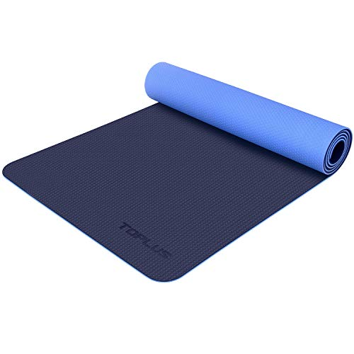 (TOPLUS Yoga Mat- Premium 6mm Extra Thick Yoga Mat Eco Friendly Non-Slip Exercise & Fitness Mat with Carrying Strap for All Type of Yoga, Pilates and Floor Exercises, Texture Upgraded Series UP-01)