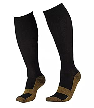Runee Copper Infused Compression Anti-Fatigue Enhances Blood Circulation. Best Medical and Travel Sock (S/M)