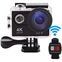 Action Camera , GERI H9R Ultra HD 4K WIFI Sports camera Waterproof 20MP Wide Angle Sports Video Camera 2 inch LCD Screen / 2.4G Remote Control / 2 Batteries -Black