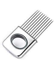 Stainless Steel Onion Silcing Holder With 10 Even Prong Easy Hold Tomato Vegetable To Cut,Sliver Color