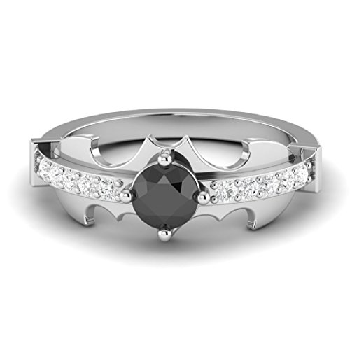Venus Jewels New 3.05ct White Diamond Round Cut Batman Engagement Wedding Ring in Full Black 925 Sterling Silver (7.5)