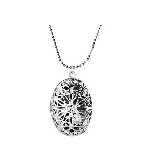 Adisaer Locket Necklace Oval for Womens Vintage Pattern Locket Necklaces Photo Silver Memorial Jewelry Vintage Silver Lockets