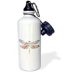 "3dRose wb_202384_1 ""Dreamer Dragonfly In Coral Blue & Mint Sports"" Water Bottle, 21 oz, Natural"