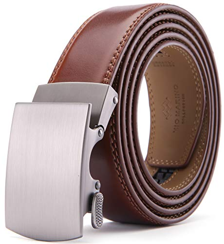 Mio Marino Belts For Men Genuine Leather Ratchet Belt Automatic Buckle, In a Gift Box
