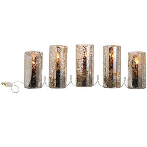 5 Piece Electric Pillar Mercury Glass Candle Set - From RAZ