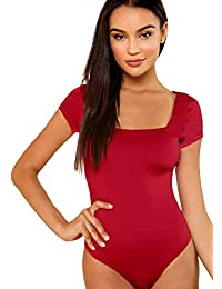 Women's Short Sleeve Tops Basic V-Neck Leotard Bodysuit...
