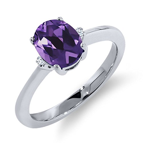 1.12 Ct Oval Purple Amethyst White Sapphire 925 Sterling Silver Ring (Women Sapphire Purple Ring For)