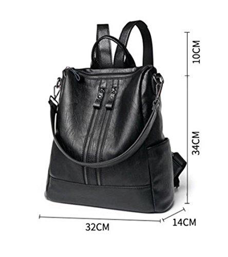 ville quotidien sac dos à femmes sac à véritable cuir dos Vintage Grand dos Moyen GSHGA occasionnel à sac pour cuir Black noir sac à en chaud sac les en dos IwUqz0InHx