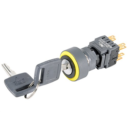 uxcell Latching Selector Key Lock Switch DPDT ON-OFF-ON 3 Position 1/0/2 16mm Mounting Diameter AC 250V 0.5A Round Head with 2 ()