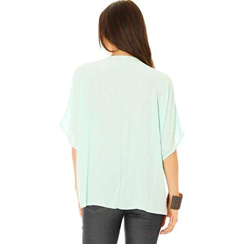 Miss Wear Line - Haut vert d'eau style chauve souris avec broderie au col et noeud à la taille
