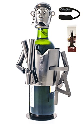(Fabulous Architect (Holding Plueprints and Holding Geometrc Rulers) Wine Bottle Holder Plus a Wine Foil Cutter and a Wine Vacuum Stopper)