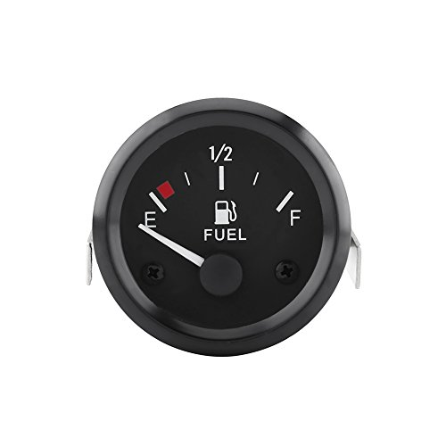 Qiilu 52mm Universal Car Fuel Level Gauge LED Digital E-1/2-F Range Meter with Fuel Sensor (Digital Fuel Gauge)