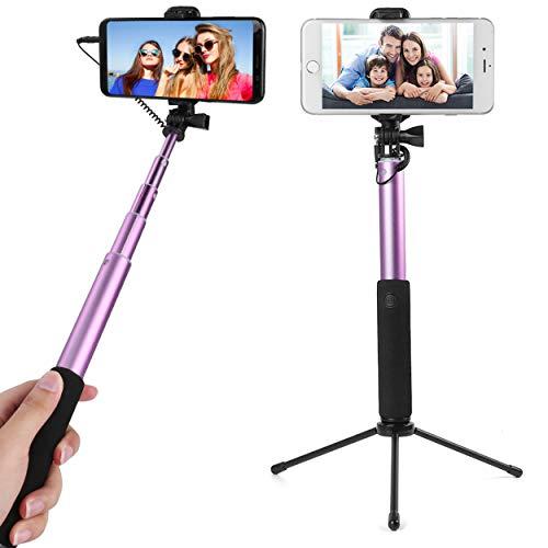 Caña de selfie compacta extensible con base de trípode desmontable para Archos 50b/55b Cobalt, 50/55 grafito, Sense 55s,...