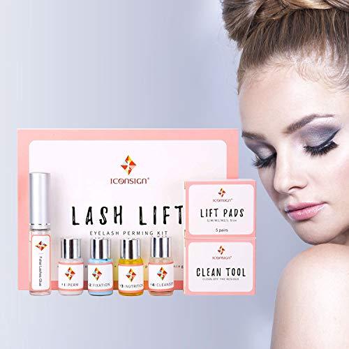 Eyelash Perming Kit, Professional Lash Lift, Nutritious Lashes Extension, Semi-Permanent Curling, Lotion & Liquid, Glue & Tools Set -
