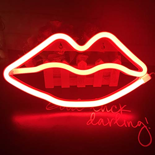 Lips Neon Signs,LED Lips Sign Shaped Decor Neon Night Light,Wall Decor Lamp for Childrens/Kids Room, Living Room, Wedding Party Decoration (Neon Red Lips)