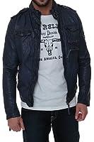 True Religion Leather Jacket BIKER LEATHER JACKET, Color: Dark blue