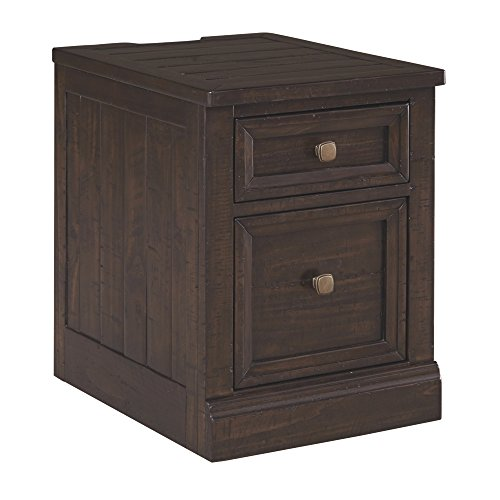 Ashley Furniture Signature Design - Townser File Cabinet - 1 File Cabinet/1 Drawer - 2 Electrical Outlets/2 USB Charging - Power Cord Included - Grayish Brown Finish