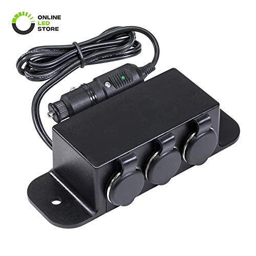 ONLINE LED STORE Automotive DC Power Outlet Extension [Heavy Duty] [12V-24V] [10 Amp] [in-Line Fuse] [Plug-N-Play] Car Triple Socket Cigarette Lighter Plug Switch Box
