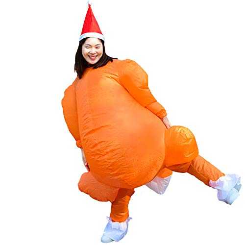 HUAYUARTS Inflatable Costume Roast Turkey Game Cloth Adult Funny Blow up Suit Halloween Chicken Cosplay Gift, Free Size -