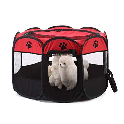 ASOSMOS Pet Cat Dog Puppy Fence Tent Playpen 8 Panels Foldable Portable House Double Doors (red)