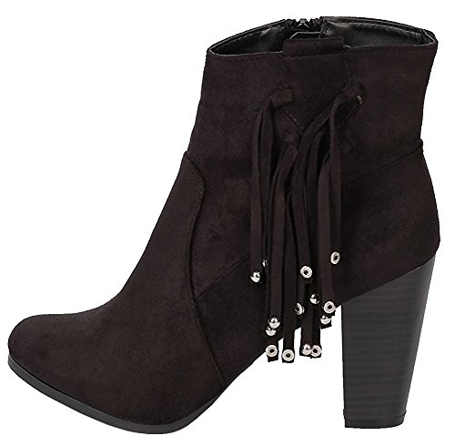 Women's Ankle Heel Chunky Western Breckelle's Tassel Black Bead Stacked Fringe Bootie OTdXwq8