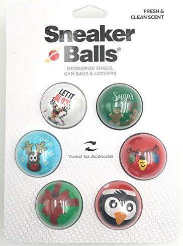 Sneaker Balls - 6 STÜCK - Schuhdeodorantbälle - Lufterfrischer - Schuhdeo für Sneaker - Sporttasche - Schuhschrank - Spind - Turnbeutel - Auto - Weihnachtsmotive