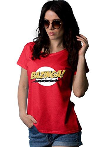 Big Logo Tee Womens (Womens Big Bang Theory Bazinga Logo T Shirt | Red, L)