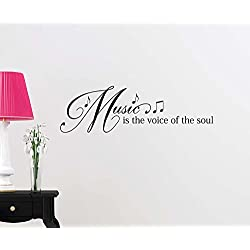 Vinyl Wall Decal Music is the voice of the soul 23 X 7 love cute inspirational family love vinyl quote saying wall art lettering sign room decor