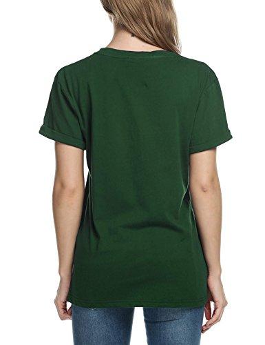 Unita Shirt Meaneor Manica Tinta Verde Donna da Tinta Scollo Unita Corta qBB0nxwdSr
