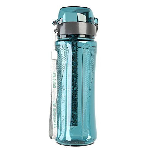 pH REVIVE Alkaline Water Filter Bottle & Carry Case - Water Purifier Bottle - Alkaline Water Ionizer - Filter Water Bottle - Water Filtration System, (Aqua, 750 ml)
