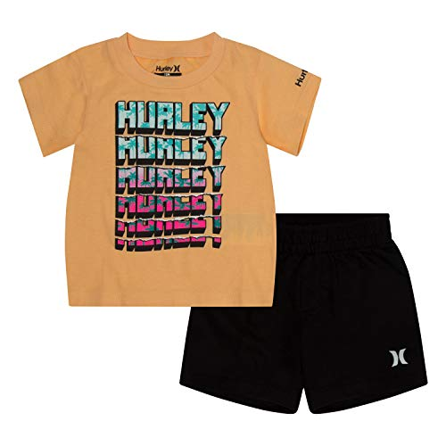 (Hurley Baby Boys' Toddler Graphic T-Shirt and Shorts 2-Piece Outfit Set, Black/Orange Sliced, 4T)