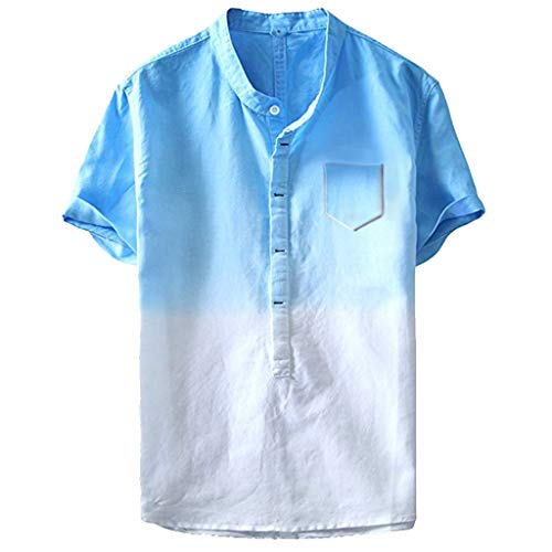 iHPH7 Shirt Short Sleeve Summer Cool and Thin Breathable Collar Hanging Dyed Gradient Cotton Shirt Men (XXL,1- Blue)