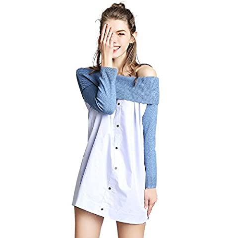 Women's Sexy Summer 3/4 Sleeve Loose Off Shoulder Ruched Button