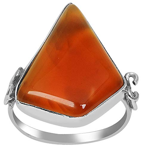 10.00 Ct Fancy Cut Orange Agate 925 Sterling Silver Engagement Ring For Women: Nickel Free Beautiful And Simple Anniversary Gift For Wife By Orchid Jewelry (Simple.Beautiful.Affordable): Ring Size-6 ()