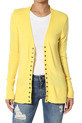 (TheMogan Women's Snap Button V-Neck Long Sleeve Knit Cardigan Yellow 1XL)