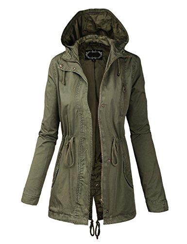 BIADANI Women Military Anorak Safari Hoodie Jacket, IJKW009 Olive, 3X