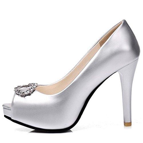 COOLCEPT Mujer Elegante Tacon de Aguja Alto Verano Court Zapatos sin Cordones Peep Toe Sandalias Zapatos Plata