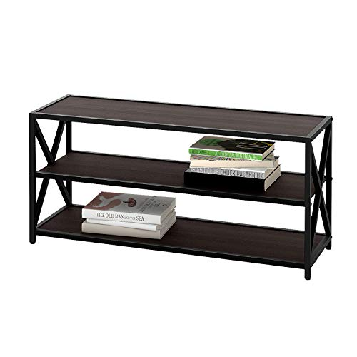 WLIVE X-Frame TV Stand with Shelf, Entertainment Center Console, Bookshelf for Living Room, Metal Frame