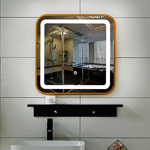 YANGMAN-L Square Wall Mounted LED Lighted Backlit Mirror with Defogger Control Button - Saving 20 Mirrors 16 X Space Bathroom